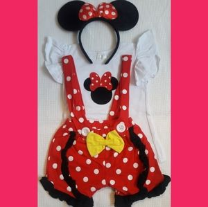 NEW Minnie Mouse red overall suspenders XL 6T